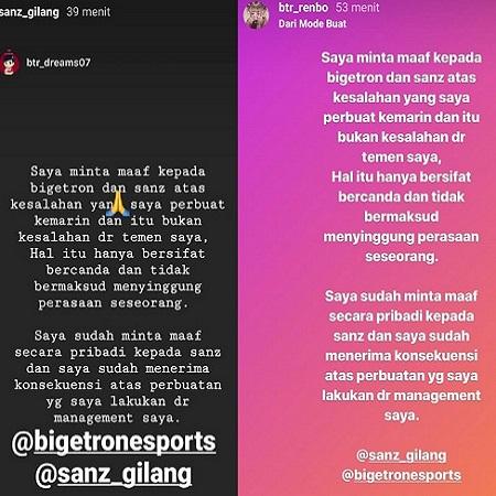 Ujaran Kasar, Pemain Bigetron Alpha Minta Maaf ke ONIC.Sanz