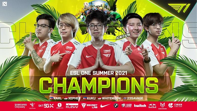 T1 Juara ESL One Summer 2021, Duet Xepher-Whitemon Banjir Pujian