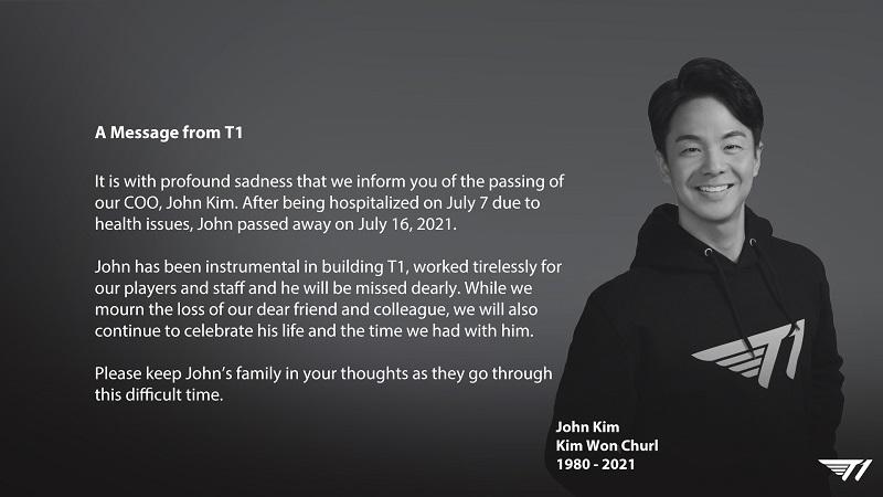 COO T1 John Kim Tutup Usia di Umur 40 Tahun