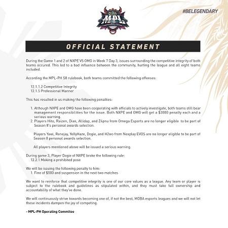 Belom Kapok! MPL Filipina Kembali Sanksi Dua Tim Diduga Match Fixing