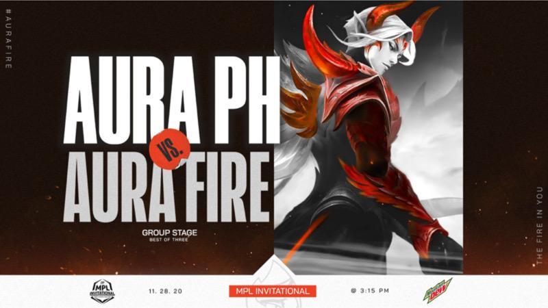 Poster Match AURA PH vs AURA FIRE Mirip Gambar Desain EG