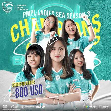 Belletron Ace Sukses Angkat Trofi PMPL SEA Ladies S3!