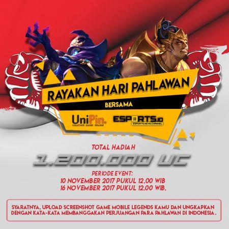 Rayakan Hari Pahlawan Bersama UniPin dan Esports.ID, Dapatkan Voucher Game Gratis!