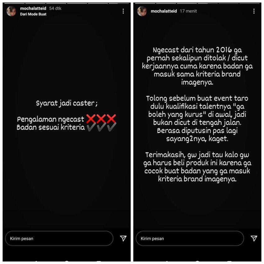 Kronologi penolakan Mochalatte selaku caster. sumber: story Instagram @mochalatteid